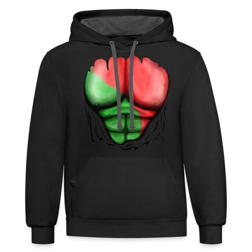 Portugal Flag Ripped Muscles, six pack, chest t-shirt - Contrast Hoodie