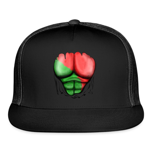 Portugal Flag Ripped Muscles, six pack, chest t-shirt - Trucker Cap