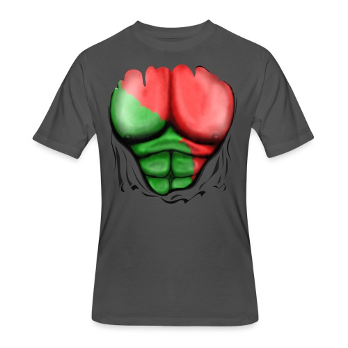 Portugal Flag Ripped Muscles, six pack, chest t-shirt - Men's 50/50 T-Shirt