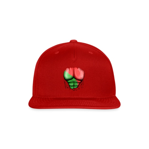 Portugal Flag Ripped Muscles, six pack, chest t-shirt - Snap-back Baseball Cap