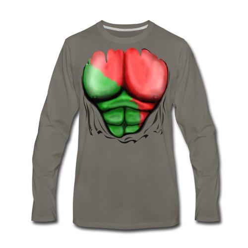 Portugal Flag Ripped Muscles, six pack, chest t-shirt - Men's Premium Long Sleeve T-Shirt