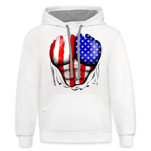 USA Flag Ripped Muscles, six pack, chest t-shirt - Contrast Hoodie