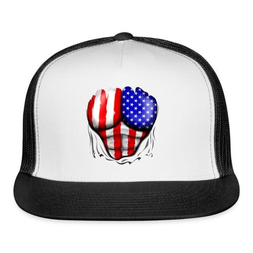 USA Flag Ripped Muscles, six pack, chest t-shirt - Trucker Cap