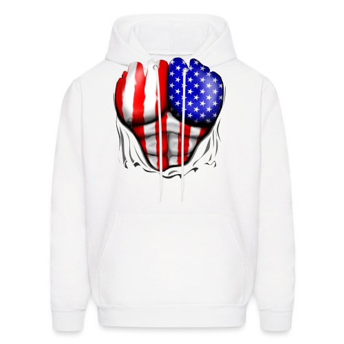 USA Flag Ripped Muscles, six pack, chest t-shirt - Men's Hoodie