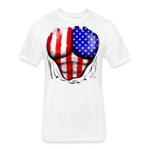 USA Flag Ripped Muscles, six pack, chest t-shirt - Fitted Cotton/Poly T-Shirt by Next Level