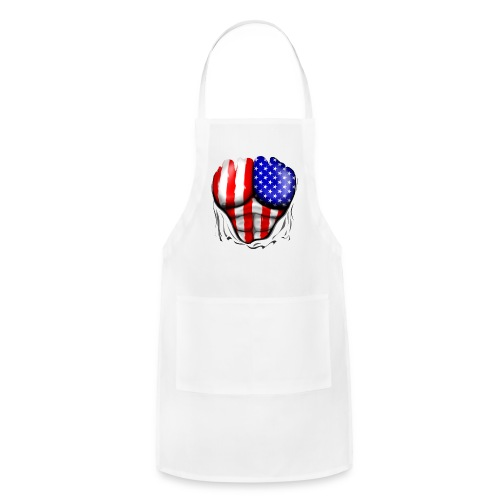 USA Flag Ripped Muscles, six pack, chest t-shirt - Adjustable Apron