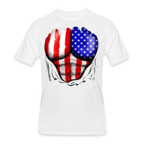USA Flag Ripped Muscles, six pack, chest t-shirt - Men's 50/50 T-Shirt