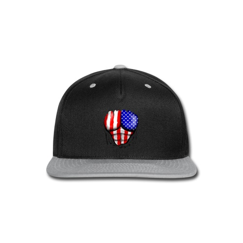 USA Flag Ripped Muscles, six pack, chest t-shirt - Snap-back Baseball Cap