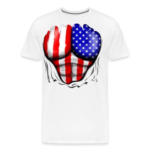 USA Flag Ripped Muscles, six pack, chest t-shirt - Men's Premium T-Shirt
