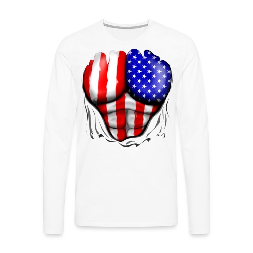 USA Flag Ripped Muscles, six pack, chest t-shirt - Men's Premium Long Sleeve T-Shirt