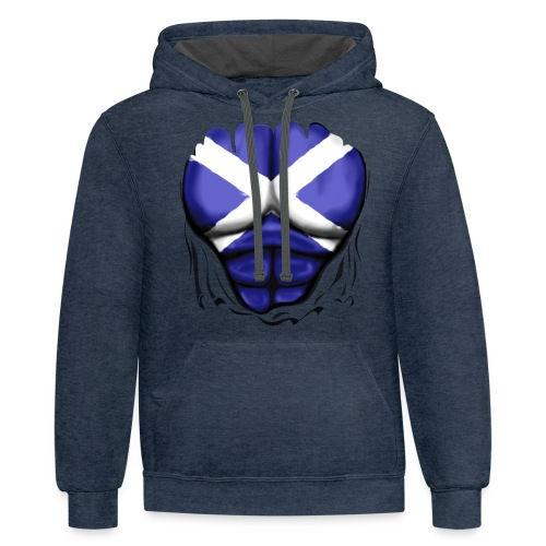 Scotland Flag Ripped Muscles, six pack, chest t-shirt - Contrast Hoodie