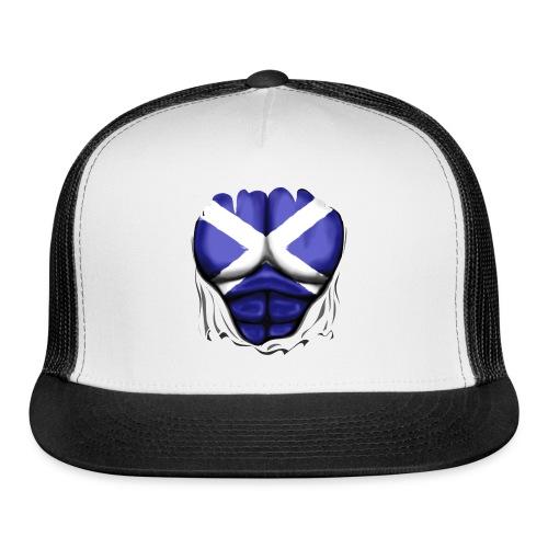 Scotland Flag Ripped Muscles, six pack, chest t-shirt - Trucker Cap