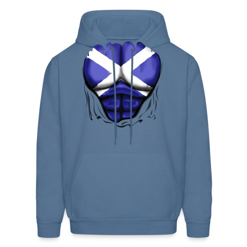 Scotland Flag Ripped Muscles, six pack, chest t-shirt - Men's Hoodie