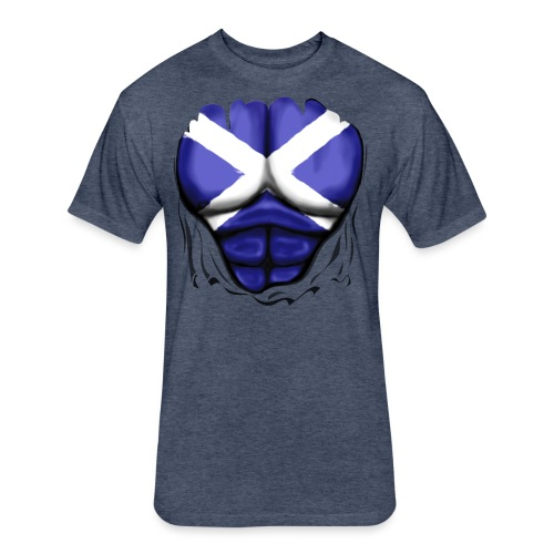 Scotland Flag Ripped Muscles, six pack, chest t-shirt - Fitted Cotton/Poly T-Shirt by Next Level