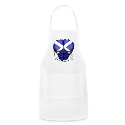 Scotland Flag Ripped Muscles, six pack, chest t-shirt - Adjustable Apron
