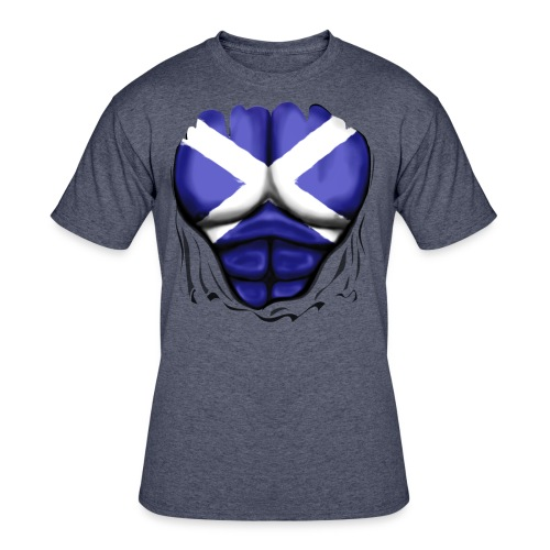 Scotland Flag Ripped Muscles, six pack, chest t-shirt - Men's 50/50 T-Shirt