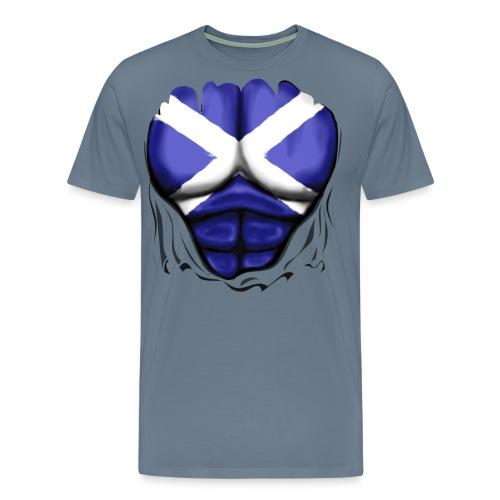 Scotland Flag Ripped Muscles, six pack, chest t-shirt - Men's Premium T-Shirt