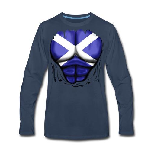 Scotland Flag Ripped Muscles, six pack, chest t-shirt - Men's Premium Long Sleeve T-Shirt