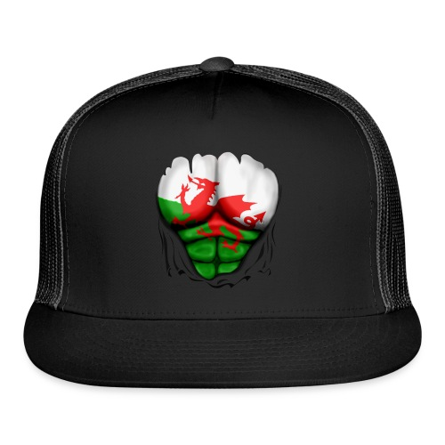 Wales Flag Ripped Muscles, six pack, chest t-shirt - Trucker Cap