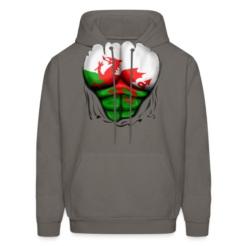 Wales Flag Ripped Muscles, six pack, chest t-shirt - Men's Hoodie