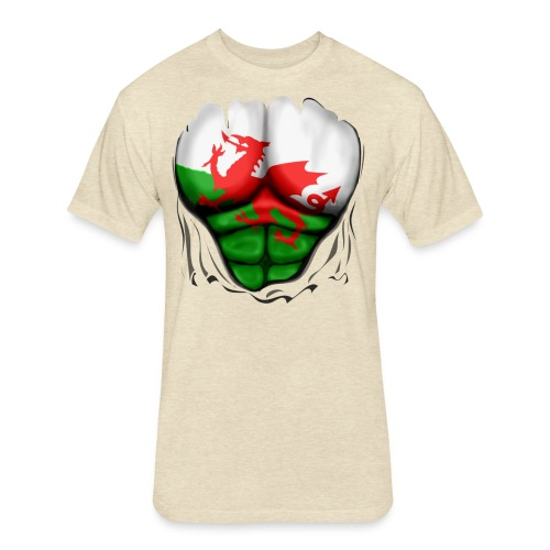 Wales Flag Ripped Muscles, six pack, chest t-shirt - Fitted Cotton/Poly T-Shirt by Next Level