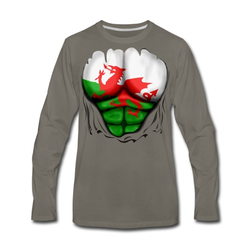 Wales Flag Ripped Muscles, six pack, chest t-shirt - Men's Premium Long Sleeve T-Shirt