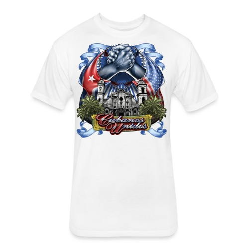 Cubano Unidos on WHT - Fitted Cotton/Poly T-Shirt by Next Level