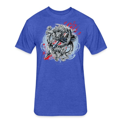 S-121 Dragon Tattoo Men's Tee - Fitted Cotton/Poly T-Shirt by Next Level