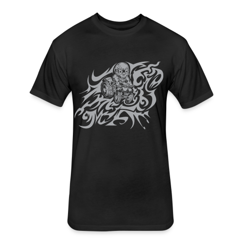 Flamed Skully - Fitted Cotton/Poly T-Shirt by Next Level
