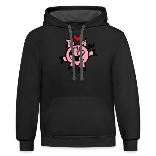 Pig Falling Head over Heels in Love - Contrast Hoodie