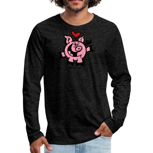 Pig Falling Head over Heels in Love - Men's Premium Long Sleeve T-Shirt