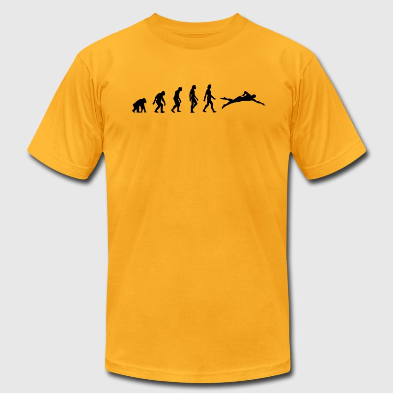 Swimming Evolution (1c) T-Shirts - Men's T-Shirt by American Apparel