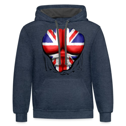 UK Flag Ripped Muscles, six pack, chest t-shirt - Contrast Hoodie