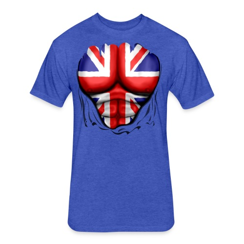 UK Flag Ripped Muscles, six pack, chest t-shirt - Fitted Cotton/Poly T-Shirt by Next Level