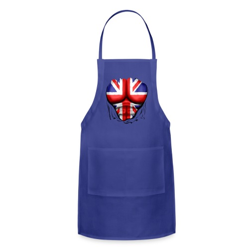 UK Flag Ripped Muscles, six pack, chest t-shirt - Adjustable Apron