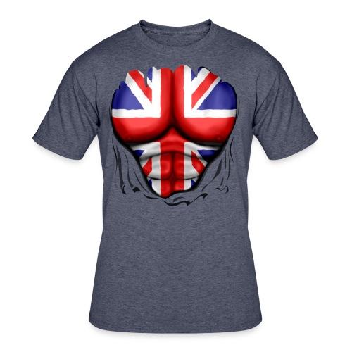 UK Flag Ripped Muscles, six pack, chest t-shirt - Men's 50/50 T-Shirt