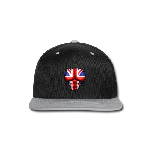 UK Flag Ripped Muscles, six pack, chest t-shirt - Snap-back Baseball Cap