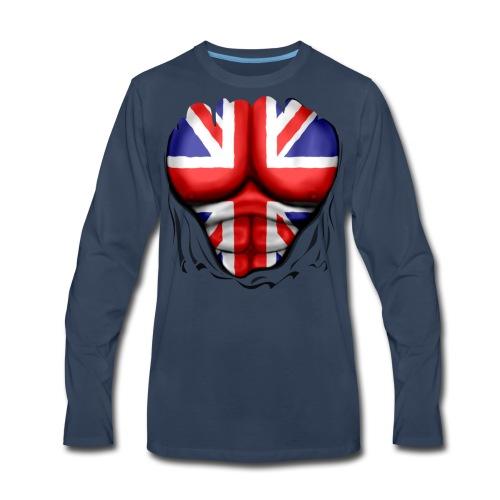 UK Flag Ripped Muscles, six pack, chest t-shirt - Men's Premium Long Sleeve T-Shirt