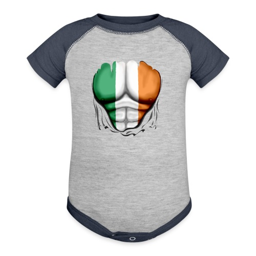 Ireland Flag Ripped Muscles, six pack, chest t-shirt - Baseball Baby Bodysuit
