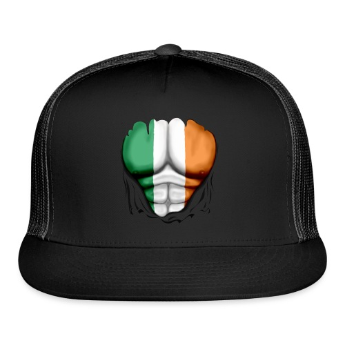 Ireland Flag Ripped Muscles, six pack, chest t-shirt - Trucker Cap