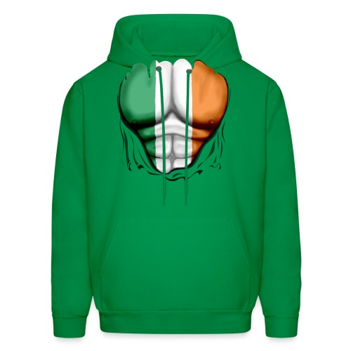 Ireland Flag Ripped Muscles, six pack, chest t-shirt - Men's Hoodie
