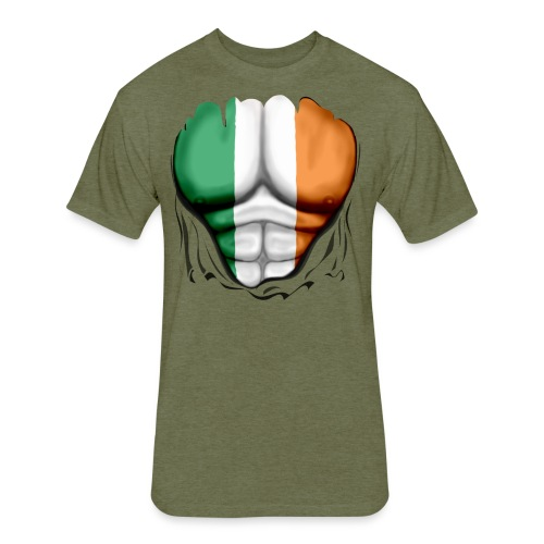 Ireland Flag Ripped Muscles, six pack, chest t-shirt - Fitted Cotton/Poly T-Shirt by Next Level