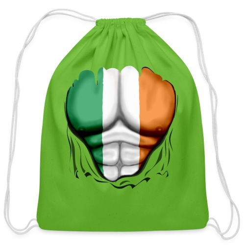 Ireland Flag Ripped Muscles, six pack, chest t-shirt - Cotton Drawstring Bag