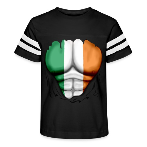 Ireland Flag Ripped Muscles, six pack, chest t-shirt - Kid's Vintage Sport T-Shirt