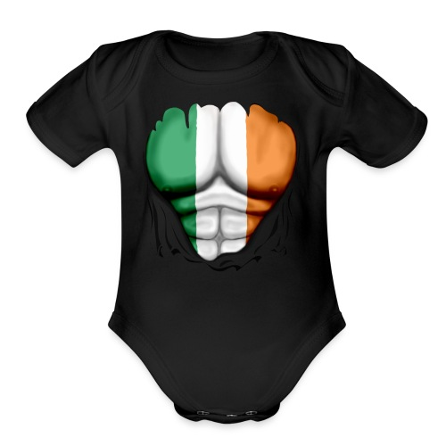 Ireland Flag Ripped Muscles, six pack, chest t-shirt - Organic Short Sleeve Baby Bodysuit
