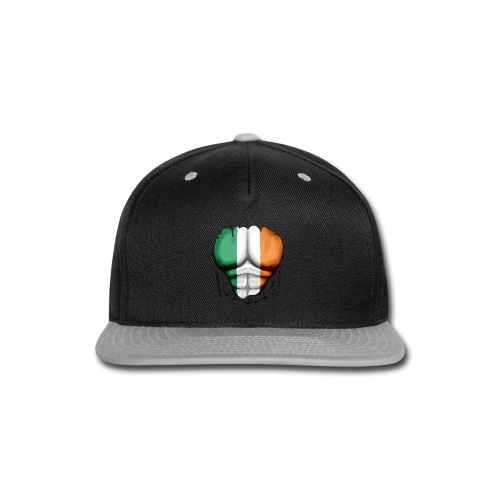 Ireland Flag Ripped Muscles, six pack, chest t-shirt - Snap-back Baseball Cap