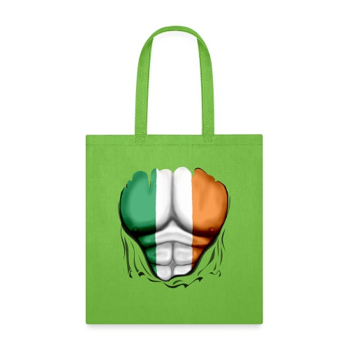 Ireland Flag Ripped Muscles, six pack, chest t-shirt - Tote Bag