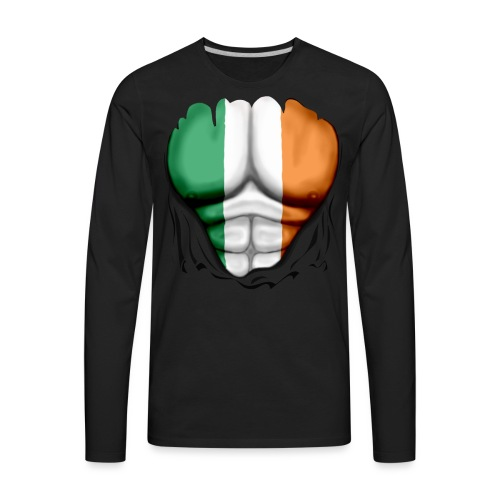 Ireland Flag Ripped Muscles, six pack, chest t-shirt - Men's Premium Long Sleeve T-Shirt