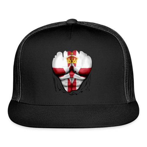 Northern Ireland Flag Ripped Muscles, six pack, chest t-shirt - Trucker Cap