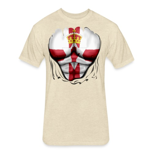 Northern Ireland Flag Ripped Muscles, six pack, chest t-shirt - Fitted Cotton/Poly T-Shirt by Next Level